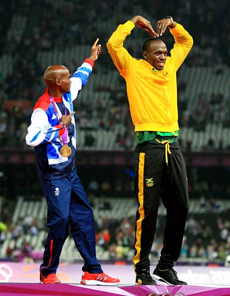 Lontoon olympialaisissa 2012 Bolt oli jälleen voittamaton. Hän vei mestaruudet 100 ja 200 metrillä sekä Jamaikan pikaviestijoukkueen jäsenenä. Palkintokorokkeella Bolt ja brittiyleisön suosikki Mo Farah hauskuuttivat tekemällä toistensa tuuletukset.