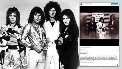 Queen nousi tunnetuksi kokoonpanolla Roger Taylor, John Deacon, Brian May, Freddie Mercury (kuvassa). Ennen Deaconia ensimmäisenä basistina oli kuitenkin Mike Grose.