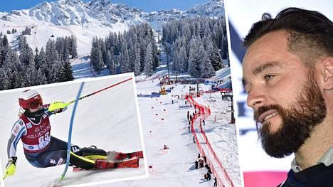Ski Sport Finlandin toimitusjohtaja Iiro Kaukoniemi (oik.) kertoo, että omavastuuosuus perustuu aikaisempien kausien tuloksiin.