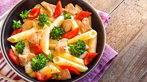 Jos lisäät pastaan kanaa varmista, että kana on kunnolla paistunutta, ei keitettyä pehmeää sohjoa.
