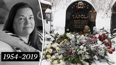 Tuoreet kukat ja palavat kynttilät kertovat siitä, että Mervi Tapolan uurna on juuri laskettu Tapolan sukuhautaan Tampereen Kalevankankaan hautausmaalla.