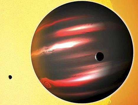 Taiteilijan näkemys TrES-2b planeetasta.