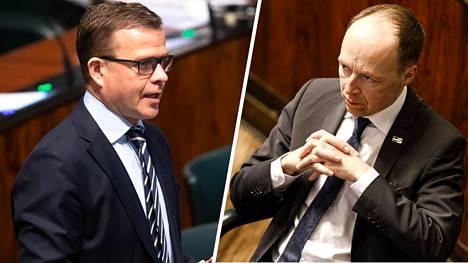 Oppositiojohtajat Petteri Orpo (kok.) ja Jussi Halla-aho (ps.) pitävät työllisyystavoitteita epärealistisina nykytoimilla.