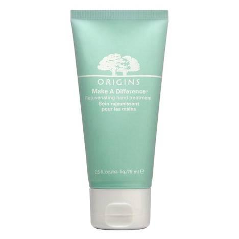 Originsin käsivoiteessa on kosteuttavaa jerikonruusua ja ihoa virkistävää sienisokeria. Voide korjaa UV-valon ja päivittäisen rasituksen aiheuttamia vahinkoja ja tasaa ihon sävyeroja. Make A Difference Rejuvenating Hand Treatment 25 € / 75 ml.