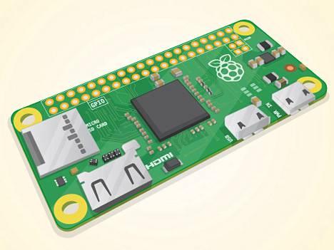 Raspberry Pi -säätiön havainnekuva Pi Zero -korttitietokoneesta.