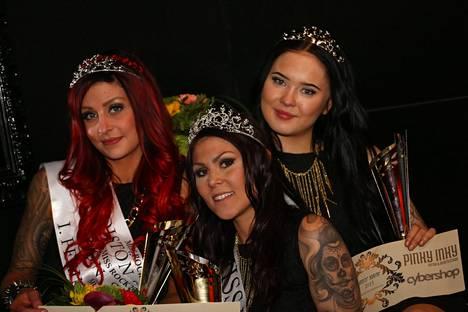 Miss Rock 2015 -kilpailun voittajat (vas.) 1. perintöprinsessa Sofia Mäkkylä, Miss Rock 2015 Jessika Elo ja 2. perintöprinsessa Sara Mehtonen.