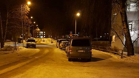 Poliisiautoja Helsingin Roihuvuoressa.