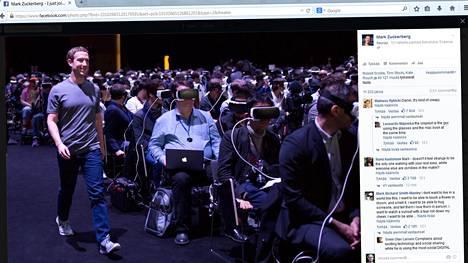 Mark Zuckerberg käveli Samsungin tilaisuudessa lavalle aivan Gear VR:ää käyttävän yleisön vierestä.