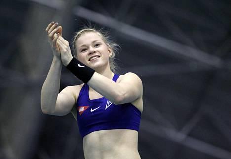 Wilma Murto Tampereella SM-hallikilpailuissa helmikuussa.