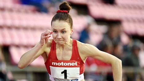 Reetta Hurske voitti perjantaina naisten pika-aitojen Suomen mestaruuden.