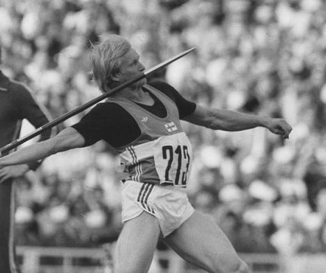 Antero Puranen kiskomassa Moskovan kisoissa 1980.