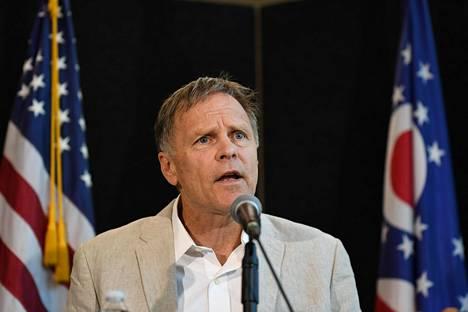 Fred Warmbier puhui tiedotustilaisuudessa Cincinnatissa viime viikolla.