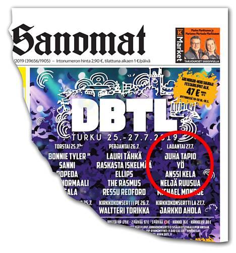 Down By The Laituri -kaupunkifestivaalin ilmoitukseen lipsahti Yö-yhtyeen nimi.