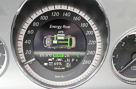 Hybridi-Mersun mittaristo kertoo, paljonko sähkövirtaa on vielä jäljellä.