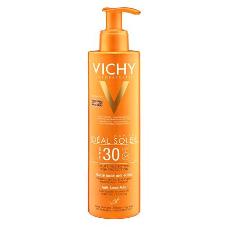 Vichy Ideal Soleil Anti-Sand -aurinkosuojaemulsio SPF 30, 27 € / 200 ml.