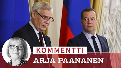 Pääministeri Antti Rinne (sd) tapasi maanantaina venäläisen kollegansa Dmitri Medvedevin Moskovassa.