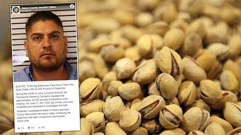 Kalifornialaismies jäi kiinni 19000 kilon pistaasivarkaudesta.