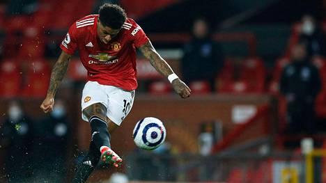 Manchester Unitedin hyökkääjä Marcus Rashford teki maalin ottelussa Brightonia vastaan.