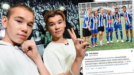 Norjalaiset poptähdet Marcus ja Martinus ovat innokkaita futismiehiä. Helsingin keikkareissulla he pääsivät pelaamaan HJK:n jalkapalloilijoiden kanssa.