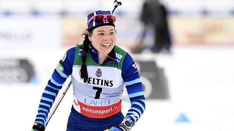 Krista Pärmäkoski ei ollut tyytyväinen yhdeksänteen sijaansa.