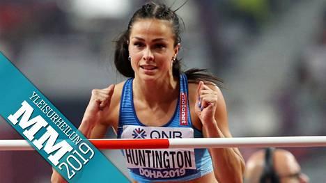 Maria Huntington tuuletti onnistumistaan korkeuspaikalla.
