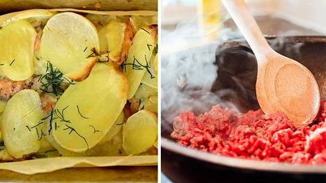 Lohi-perunalaatikko on arkiruokien klassikko. Jauheliha on monen perheen perusraaka-aine. Kuvituskuva.