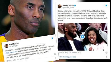Koripallolegenda Kobe Bryant menehtyi kopteriturmassa sunnuntaina Kaliforniassa. BBC:n uutiseen livahti toisen legenda LeBron Jamesin kuva.