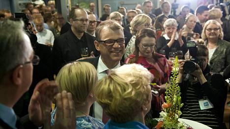 Juha Sipilä keskustan vaalivalvojaisissa.
