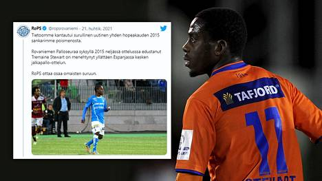 RoPS kertoi entisen pelaajansa kuolemasta Twitterissä. Kuva oikealla on vuodelta 2014, jolloin Tremaine Stewart pelasi Aalesund FK:ssa.