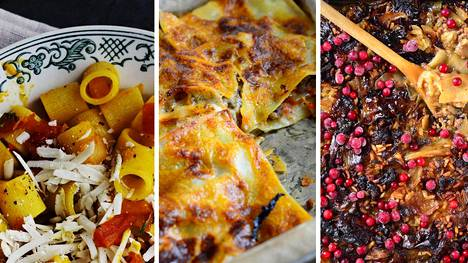 Pastat, kasvispihvit ja uuniruoat ovat tuhtia ja herkullista ruokaa.