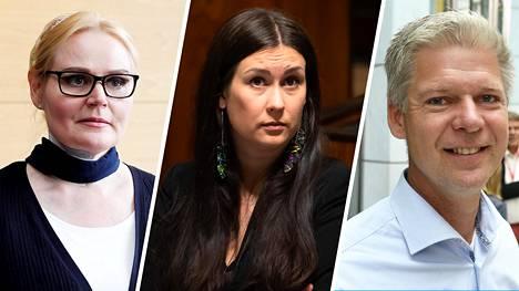 Entiset kansanedustajat Veera Ruoho (kok, vasemmalla), Tiina Elovaara (sin) ja Sampsa Kataja (kok) nostavat nyt sopeutumisrahaa.