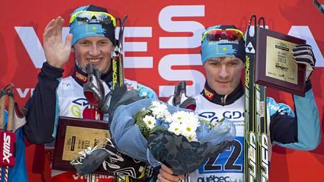 Nikolai Tsebotko (oik.) voitti yhdessä Denis Volotkan kanssa parisprintin maailmancupissa Kanadan Quebecissä joulukuussa 2012.