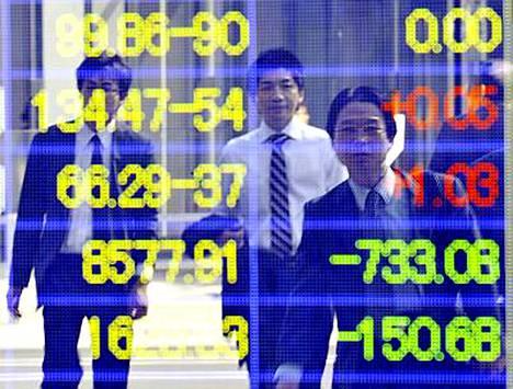 Tokion pörssissä kurssit ovat laskeneet lähes kymmenen prosenttia