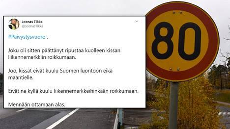 Rikoskomisario Joonas Tikka Lounais-Suomen poliisilaitokselta twiittasi sunnuntaina poliisien käyneen ottamassa kissan alas liikennemerkistä. Kuvituskuva.