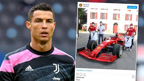 Cristiano Ronaldo hankki Ferrarin ja tapasi tallin F1-tähdet.