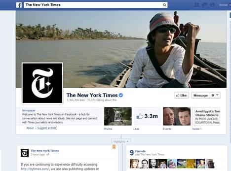New York Times julkaisi uutisia Facebook-sivullaan syyrialaishakkerien kaadettua sen verkkopalvelun.