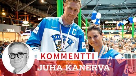Marko Anttila ja Jenni Hiirikoski kipparoivat Suomen kiekkomaajoukkueita 2019.