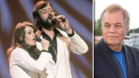 Päivi Paunu ja Kim Floor lauloivat Muistathan-kappaleen Eurovision laulukilpailussa Edinburghissa vuonna 1972.