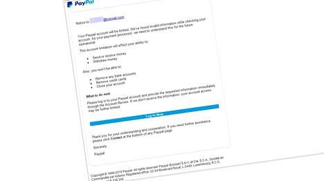 Huijausviestin logo ja copyrightit ovat kuin aidossa PayPalin sähköpostissa.