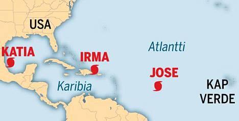Atlantin alueella riehuu parhaillaan hurrikaanit Irma, Jose ja Katia.