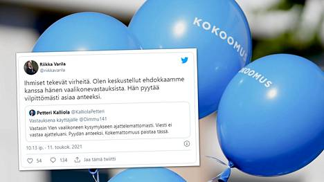 Pohjanmaan kokoomuksen toiminnanjohtaja Riikka Varila twiittasi tiistaina keskustelleensa kohuehdokkaan kanssa tämän vaalikonevastauksista.