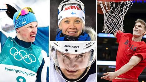 Iivo Niskanen (vas.) Kaisa Mäkäräinen, Alexander Barkov ja Lauri Markkanen (oik.) kuuluvat Urheilulehden raadin mielestä Suomen tämän hetken parhaimpiin urheilijoihin.