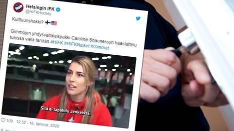 Jääkiekkoilija Caroline Shaunessya harmittaa se, miten vaikeaa ovien avaaminen on Suomessa.