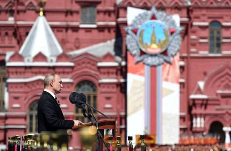 Vladimir Putin piti puheen.