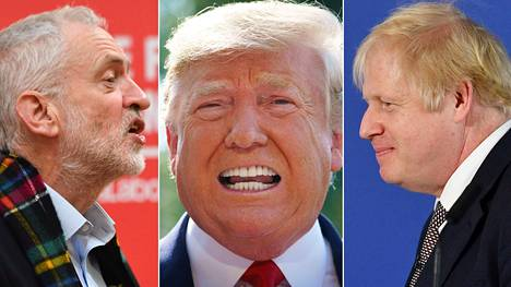 Työväenpuolueen Jeremy Corbyn (vas.) pelottelee brittiäänestäjiä Donald Trumpilla, joka saapuu Nato-kokoukseen Lontooseen vaalien alla. Konservatiivipääministeri Boris Johnson ei aio tavata Trumpia kahden kesken vaalien takia.