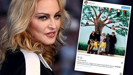 Madonna julkaisi harvinaisen yhteiskuvan, jossa hän poseeraa lastensa kanssa.