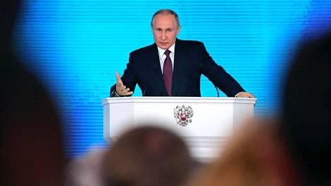Putin puhui torstaina Moskovassa parlamentille.