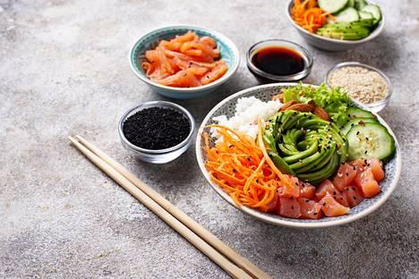 Jokaisella aterialla syödään paljon kasviksia, lihaa ei syödä suuria määriä.