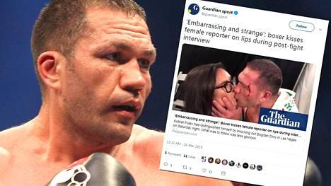 """Verinen raskaansarjan nyrkkeilijä suuteli naistoimittajaa suulle tv-haastattelussa – nainen hämmentyi: """"Noloa"""""""
