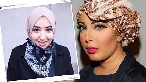 Muotivaikuttajat Imane Asry ja Iman Aldebe.